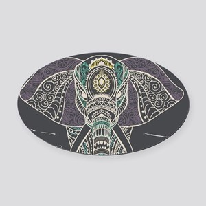 Indian Elephant Oval Car Magnet