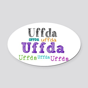 Uffda Multi-Color Text Oval Car Magnet