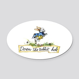 Down the Rabbit Hole Oval Car Magnet