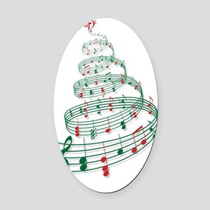 Christmas tree with music notes an Oval Car Magnet