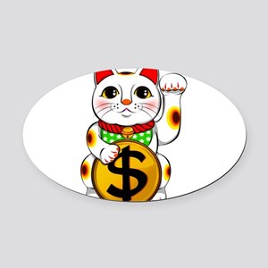Dollar Lucky Cat Maneki Neko Oval Car Magnet