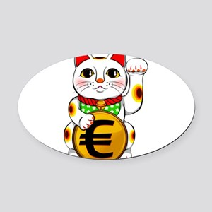 Euro Lucky Cat Maneki Neko Oval Car Magnet