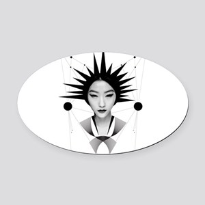 Dark homonyms cute girl face Oval Car Magnet