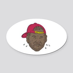 African-American Rapper Crying Drawing Oval Car Ma
