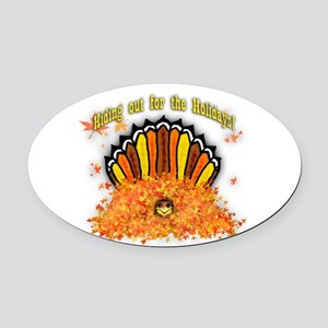 Hiding out Turkey Oval Car Magnet