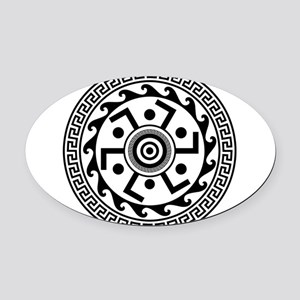 Greek Art - Decorative Circle Oval Car Magnet