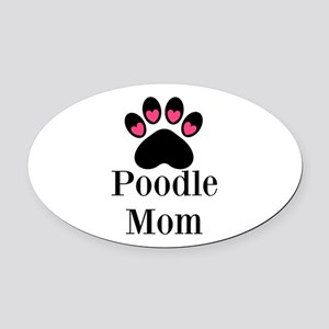 Poodle Mom Paw Print Oval Car Magnet