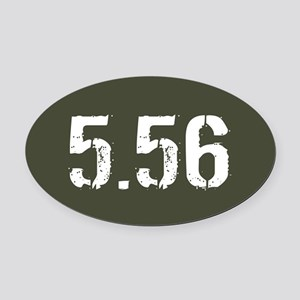 5.56 Ammo: Military Green Oval Car Magnet