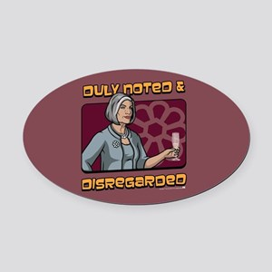 Archer Malory Duly Noted Oval Car Magnet