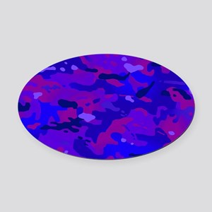 Crazy Camouflage Oval Car Magnet