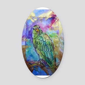 Amazon, Green parrot, art! Oval Car Magnet