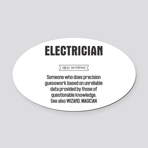 Funny Electrician Definition Oval Car Magnet