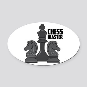Chess Master Oval Car Magnet