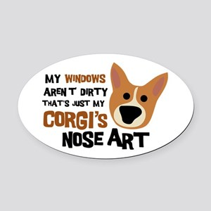 Corgi Nose Art Oval Car Magnet