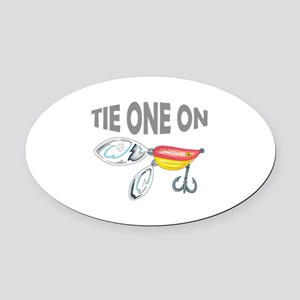 TIE ONE ON Oval Car Magnet