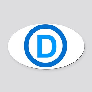Democratic D Design Oval Car Magnet