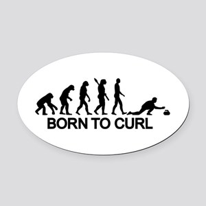 Evolution born to curling Oval Car Magnet