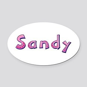 Sandy Pink Giraffe Oval Car Magnet