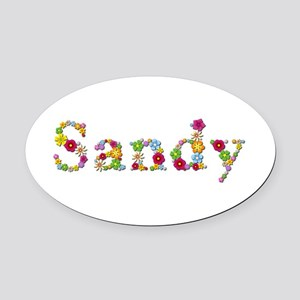 Sandy Bright Flowers Oval Car Magnet