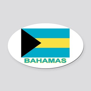 Bahamian Flag (labeled) Oval Car Magnet