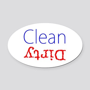 Clean Dirty Dishwasher Red Blue Oval Car Magnet