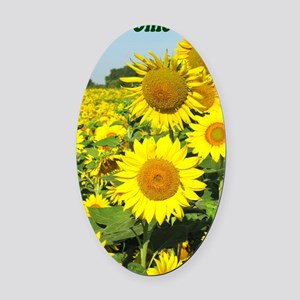 Beautiful Ohio Sunflowers Oval Car Magnet