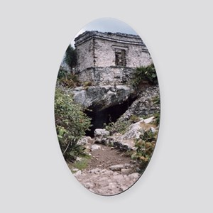 Mayan Building, Tulum, Mexico Oval Car Magnet