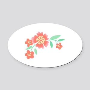 Floral Accent Oval Car Magnet