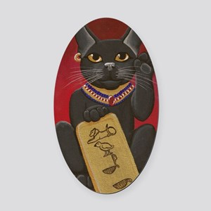 Maneki Neko Bast Oval Car Magnet