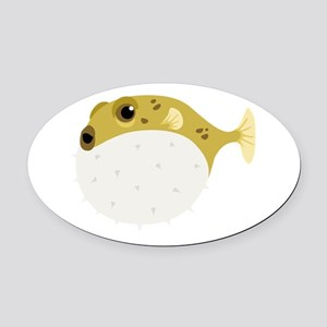 Blow Fish Oval Car Magnet
