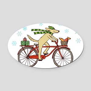 dogsquirrelholidayCP Oval Car Magnet