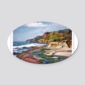 Gorgeous Coast of Oregon Stamp Oval Car Magnet