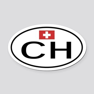 CH Switzerland Oval Car Magnet