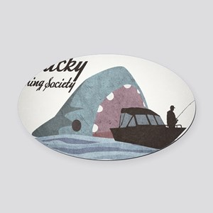 Lucky Fishing Society Oval Car Magnet
