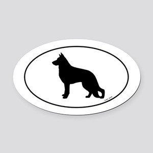 German Shepherd Silhouette Oval Car Magnet