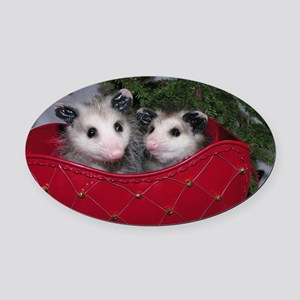 Christmas Opossums in Sleigh Oval Car Magnet