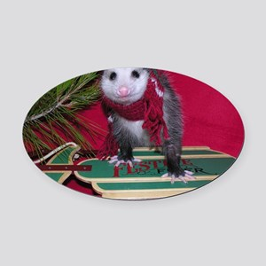 Possum on Christmas sled Oval Car Magnet