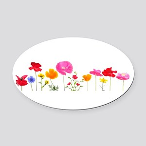 wild meadow flowers Oval Car Magnet