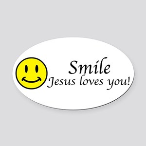 smile_jesus_lovesbs Oval Car Magnet
