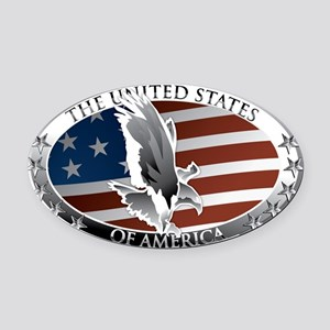 us oval full color Oval Car Magnet