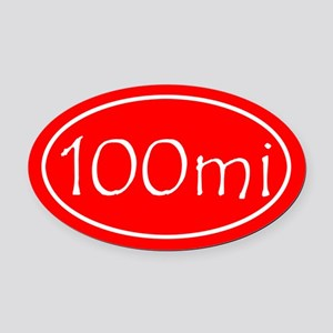 Red 100 mi Oval Oval Car Magnet