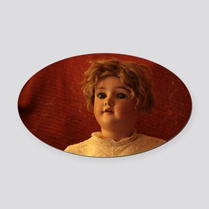 antique doll with lace blouse clos Oval Car Magnet
