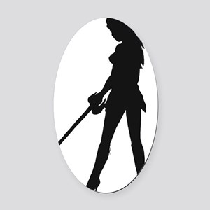 Warrior black silhouette Oval Car Magnet