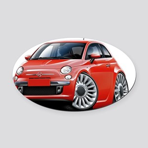 Fiat 500 Red Car Oval Car Magnet