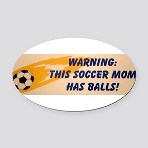 Soccer MOM Oval Car Magnet