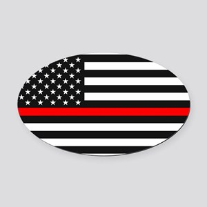 Thin Red Line - American United St Oval Car Magnet