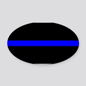 Thin Blue Line - USA United States Oval Car Magnet