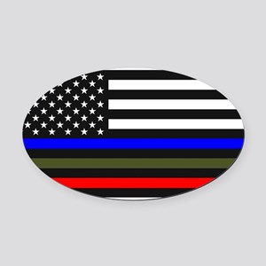 Thin Blue Line - USA Flag Red, Blu Oval Car Magnet