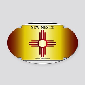 New Mexico Flag License Plate Oval Car Magnet