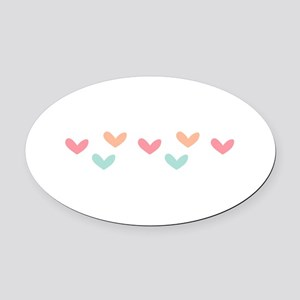Hearts Border Oval Car Magnet